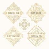 Emblem för glad jul och för lyckligt nytt år Ramar i översiktsstil Royaltyfria Bilder