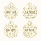 Emblem för glad jul och för lyckligt nytt år Ramar i översiktsstil Xmas-baner med julbollar Royaltyfri Foto