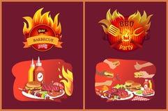 Emblem för grillfestgallerparti i flamma och mat vektor illustrationer