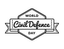 Emblem för hälsning för dag för borgerligt försvar för värld vektor illustrationer