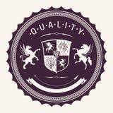 Emblem för Hight kvalitetsvektor med Guillocheelementet vektor illustrationer