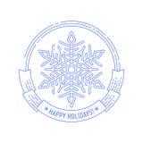 Emblem för jul och för nytt år med snöflingan Arkivfoton