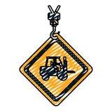 Emblem för klottervarningsdiamant med arbetare i gaffeltruck vektor illustrationer