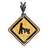 Emblem för klottervarningsdiamant med arbetare och skottkärran stock illustrationer