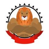 Emblem för lejonidrottsman nenrunda Stort löst djur med lurvig man Var Arkivfoton