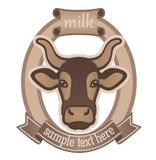 Emblem för mejeriprodukter eller för nötkreaturbranschen Arkivbilder
