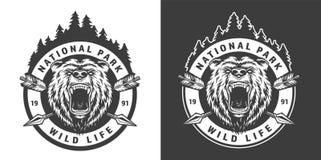 Emblem för monokrom nationalpark för tappning runt stock illustrationer