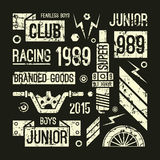 Emblem för motorcykelloppklubba i retro stil Arkivfoto