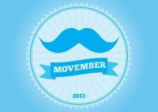 Emblem för Movember mustaschlogo stock illustrationer