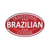 Emblem för pappers- rengöringsduk för traditionell brasiliansk kokkonst rött royaltyfri illustrationer