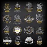 Emblem för pizzamenyrestaurang Matdesignmall royaltyfri illustrationer
