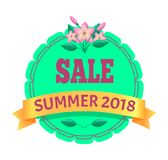 Emblem för Promo för Sale sommar 2018 runt med blomman royaltyfri illustrationer