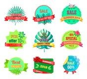 Emblem för Sale sommar 2018 med tropiska växter vektor illustrationer
