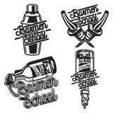 Emblem för skola för färgtappningbartendrar stock illustrationer