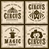 Emblem för tappning för cirkusshow fyra kulöra Vektor Illustrationer