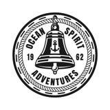 Emblem för tappning för skeppklockavektor runt nautiskt royaltyfri illustrationer