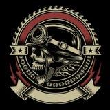 Emblem för tappningcyklistskalle royaltyfri illustrationer