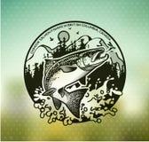 Emblem för tappninglaxfiske Royaltyfri Bild