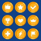 Emblem för vektortecknad filmgamification royaltyfri illustrationer