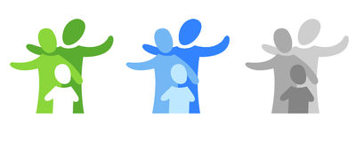 Emblem with family. A pictogram with a family in three coloured variants Stock Photos