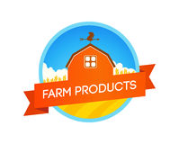 """Emblem with Farm Field and House. Colorful Label with Farm Field and House with caption """"Farm Products"""". Vector Illustration isolated on white background Stock Photo"""