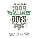 Emblem of the fearless riders boys in retro style. Graphic design for t-shirt. Color print on white background Stock Image