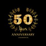 Emblem of fiftieth anniversary. 50th anniversary celebration logo concept Royalty Free Stock Images