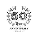 Emblem of fiftieth anniversary. 50th anniversary celebration logo concept Royalty Free Stock Photo