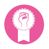 Emblem fight for rights women symbol. Illustration Royalty Free Stock Photos