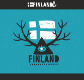 Emblem of Finland with hand drawn image in vintage. Style. Vector doodle illustration Royalty Free Stock Image