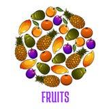 Emblem of fresh fruits icons in circle shape Royalty Free Stock Photos