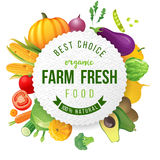 Emblem with fresh vegetables and type design vector illustration