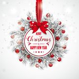 Christmas Sticker Frozen Twigs Snowfall Red Baubles Bow Stock Images