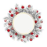 Frozen Twigs Golden Emblem Snow Red Baubles. Emblem with frozen twigs, snow and red baubles on the white background Royalty Free Stock Photography