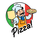 Emblem of funny cook or baker with pizza Stock Images