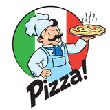 Emblem of funny cook or baker with pizza and logo Stock Image