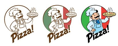 Emblem of funny cook or baker with pizza and logo stock illustration