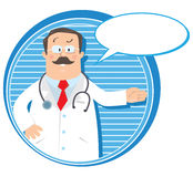Emblem with funny doctor Royalty Free Stock Photos
