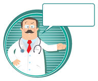 Emblem with funny doctor Royalty Free Stock Photography