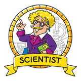 Emblem of funny scientist or inventor Royalty Free Stock Images