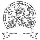 Emblem of funny scientist or inventor Stock Image