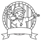Emblem of funny zoo keeper with parrot Stock Photo