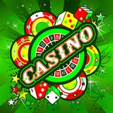 Emblem gambling casinos. Casino Party Vector game of roulette and dice, emblem gambling house, gambling machines, the glowing sign vector illustration