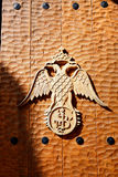 The emblem on the gate of Varlaam monastery Stock Photos