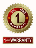 Emblem of gold color with the text of one year warranty Stock Photos