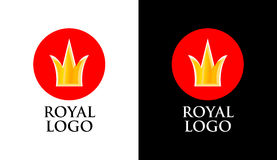 Emblem with Golden Crown on Red Round Form. With Caption isolated on White and Black Background Stock Images