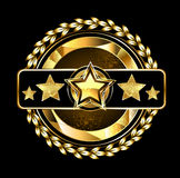 Emblem with golden stars Royalty Free Stock Photo