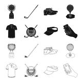 Emblem of the golf club, cap with a visor, golfer shirt, phone with a navigator.Golf club set collection icons in black. Outline style vector symbol stock Stock Photos