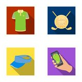Emblem of the golf club, cap with a visor, golfer shirt, phone with a navigator.Golf club set collection icons in flat Royalty Free Stock Photography