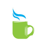 Emblem of green mug with steam Stock Photography